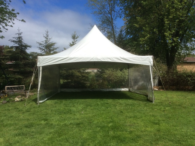Green with white tent